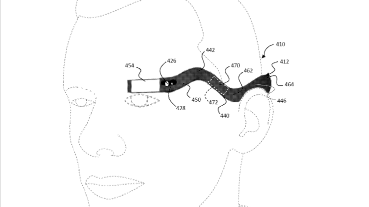 Google Glass 2 - nákres na lidské hlavě