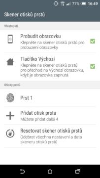 HTC One A9 - systém, čtečka otisků