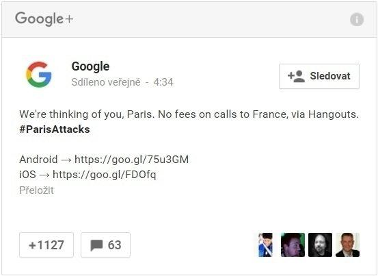 Post G+ - Volání do FR zdarma skrze Hangouts