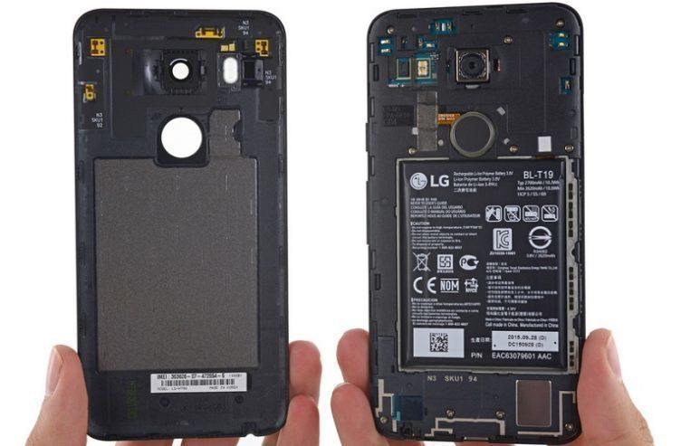 nexus 5X zevnitř batere