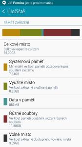 Samsung Galaxy Note 4 - vytížení paměti