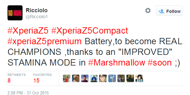 Řada Xperia Z5 dostane s Androidem 6.0 vylepšený režim Stamina