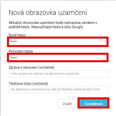 Zadání nového hesla