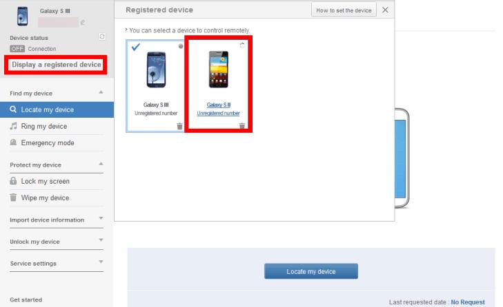 Zvolte přes nabídku Display a registered device požadované zařízení