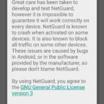 Úvodní dialog aplikace NetGuard