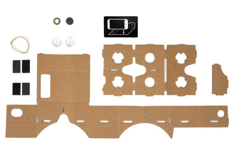 Takto vypadá sada, připravená na sestavení Google Cardboard