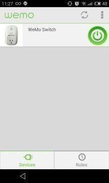 Belkin Wemo Switch - aplikace, zakladni obrazovka