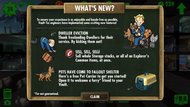 Fallout Shelter aktualizace