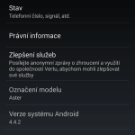 Vertu Aster –  verze systému Android 4.4.2 (2)
