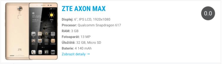 ZTE Axon Max - widget katalog