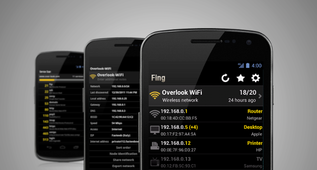 fing android aplikace sledování wifi