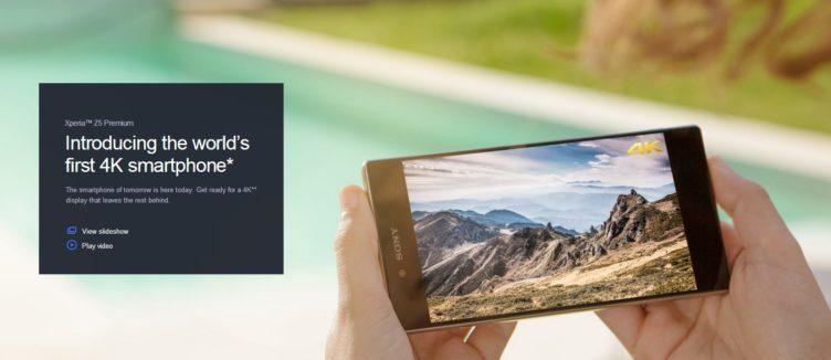 Sony prezentuje model Xperia Z5 Premium jako první 4K smartphone na světě