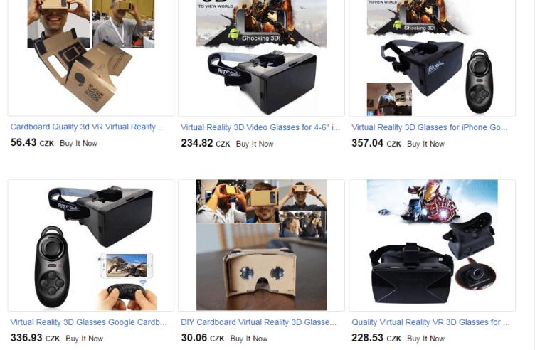 Na portále eBay seženete různé varianty Google Cardboard