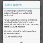 Upozornění před spuštěním aplikace