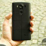 LG V10 – konstrukce,  držení, záda