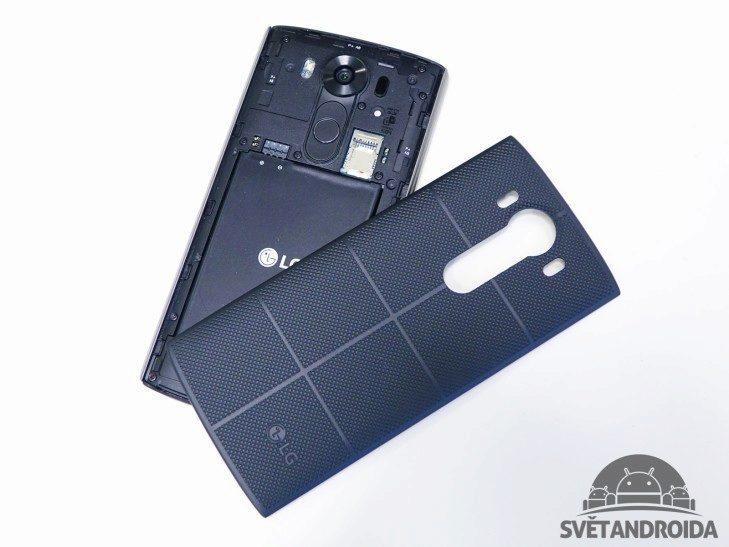 LG V10 - konstrukce, zadní část, sundaný kryt