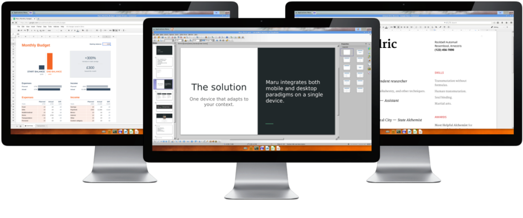 Maru OS - práce na monitorech