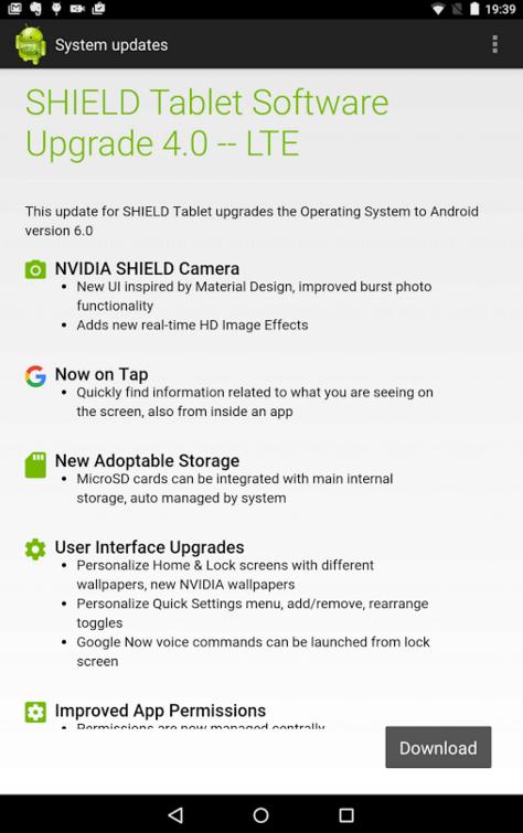 Nvidia Shield Tablet aktualizace 4-0
