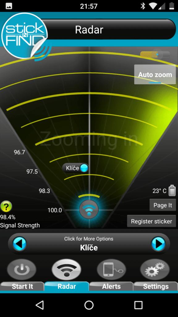 StickNFind - radar - aplikace