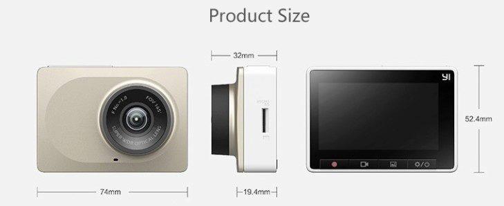 Xiaomi Yi Dashboard Camera rozměry