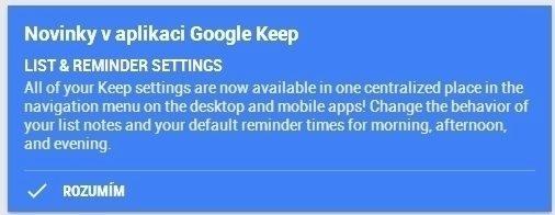 Informace o nové funkci v Google Keep