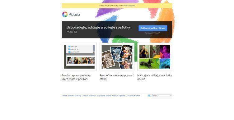 Titulní stránka projektu Picasa