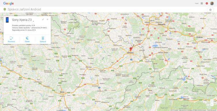 Nalezení odcizeného/ztraceného telefonu aplikací Správce zařízení Google