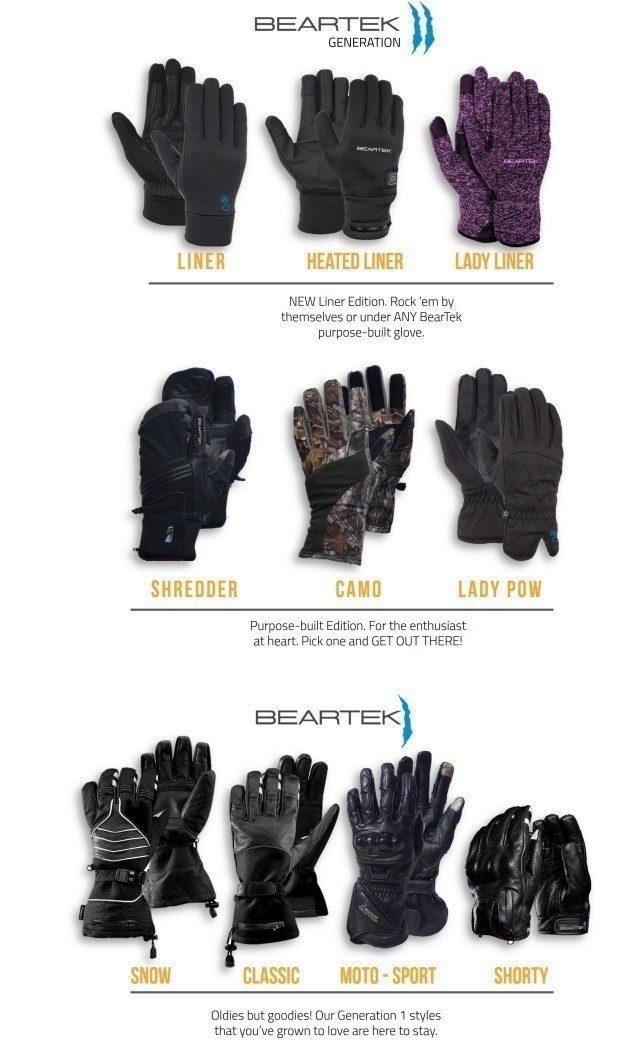 Barevné varianty rukavic BearTek