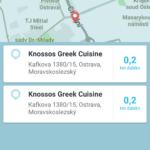 Vyhledání cíle na Foursquare