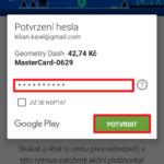 Zadání hesla pro platbu v Obchodě Play