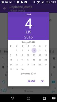 Přidání dalšího jména do kalendáře
