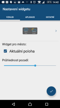 Nastavení widgetů In-Počasí