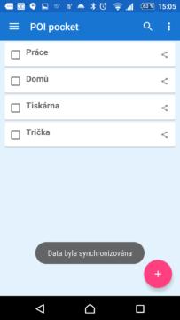 Seznam bodů v aplikaci
