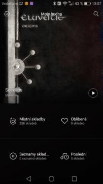 Huawei Mate 8 hudební přehrávač
