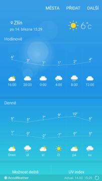 Samsung Galaxy S7 počasí