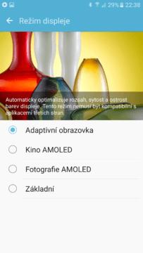 Samsung Galaxy S7 profil displeje
