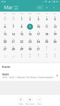 Xiaomi Mi4S – kalendář