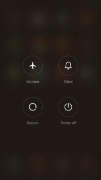 Xiaomi Mi4S – vypínací nabídka
