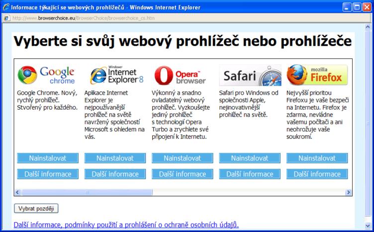 Ballot screen s výběrem prohlížečů