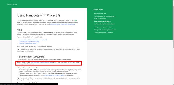 V nápovědě k projektu Fi Google doporučil místo Hangouts používat Messenger