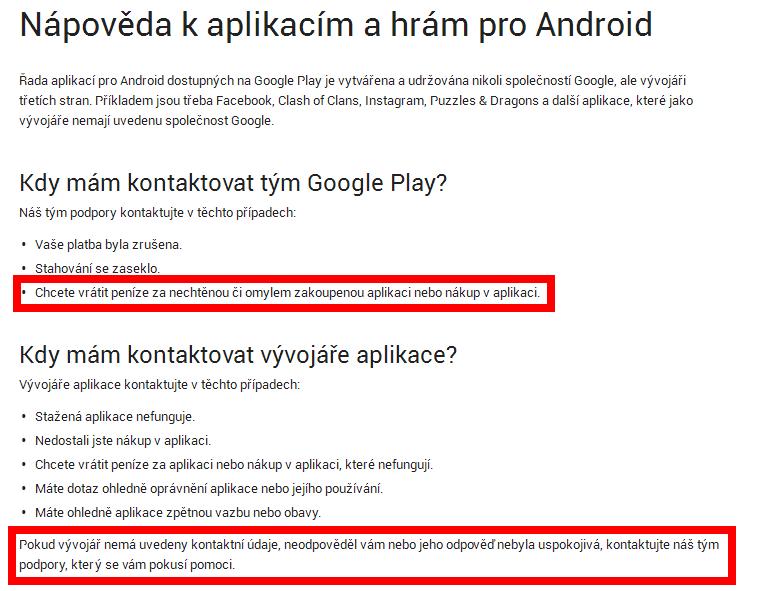 Nápověda týkající se kontaktování podpory Google
