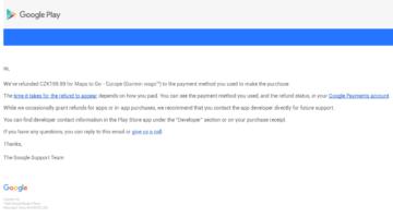E-mail s potvrzením, že částka bude vrácena