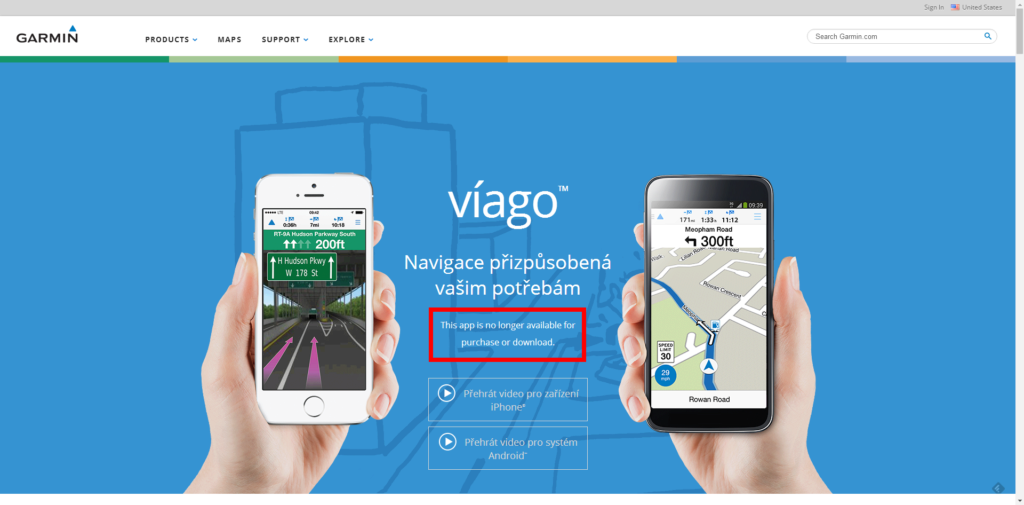 Nenápadná poznámka, že aplikaci Garmin Víago již nejde koupit ani stáhnout