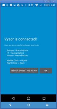 Připojování k telefonu aplikací Vysor