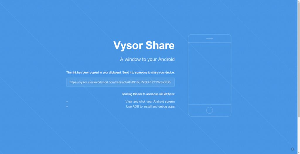 Stránka s odkazem pro sdílení zařízení