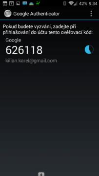 Dvoufázové ověření aplikací Google Authenticator