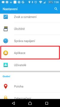 Sekce Aplikace