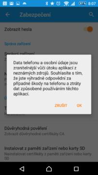 Varování před povolením instalace z neznámých zdrojů