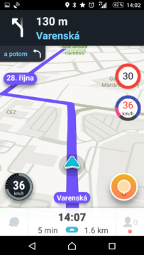 Nejvyšší rychlost před křižovatkou: chybně