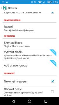 Nastavení seznamu aplikací